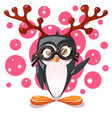 penguin deer - cartoon funny characters vector image vector image