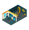 recording studio interior 3d isometric pictures vector image vector image