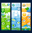 save energy banner of solar wind and hydro power vector image vector image