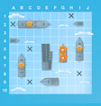 sea battle game elements with effects cartoon vector image