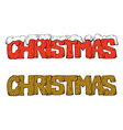 Set of Christmas lettering with snow vector image vector image