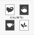 set of hand drawn silhouettes tea shop posters vector image vector image