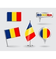 Set of Romanian pin icon and map pointer flags vector image