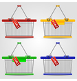 Shopping baskets set vector image vector image