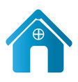 silhouette front view house icon flat vector image