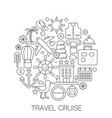 travel cruise in circle - concept line vector image