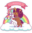 two cute unicorns taking a selfie together vector image