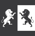 two heraldic lions rampant vector image vector image