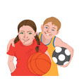 two kids in sport clothes holding balls football vector image vector image