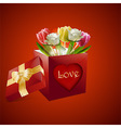 Valentine roses and tulips gift box background vector image vector image