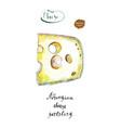 wedge of jarlsberg danish cheese with holes vector image vector image