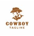 western cowboy head silhouette logo design vector image