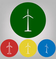 wind turbine logo or sign 4 white styles vector image vector image