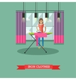 Woman ironing clothes vector image vector image