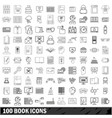 100 book icons set outline style vector image vector image