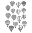 air balloon isolated icons set vector image