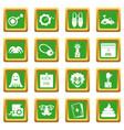 april fools day icons set green vector image vector image