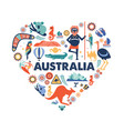 australia heart with many icons vector image