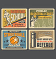 basketball school streetball fan club game vector image vector image