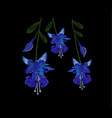 beautiful blue fuchsia flowers embroidery jeans vector image vector image
