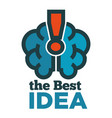 best idea logotype with himan brain and vector image vector image