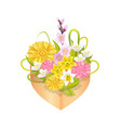 bouquet spring flowers in heart shape decor box vector image vector image