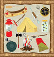 camping icons and elements vector image