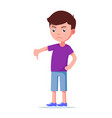 cartoon unhappy boy showing thumbs down vector image