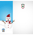 christmas snowman white background vector image vector image
