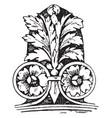 corner akroter ornamental vintage engraving vector image vector image