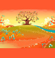 countryside landscape with tree in the sunset vector image