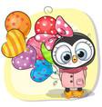 cute cartoon penguin girl with balloon vector image vector image