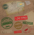 cyprus travel stamps on retro background with old vector image vector image