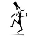 dancing long mustache man with bottle of wine vector image vector image