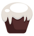 dark brown coockie with white topping on white vector image vector image