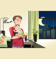 father and son at home vector image