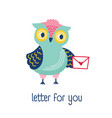 funny owl holding envelope mail or message and vector image vector image