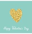 Gold glitter heart Flat design Blue background vector image