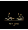 gold silhouette new york on black background vector image