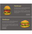 hamburgers food posters set vector image vector image