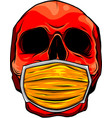 head human skull with medical mask vector image vector image