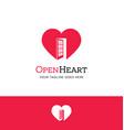 heart logo with an open door vector image vector image