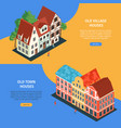 isometric old town banner set vector image vector image