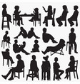 kids setting silhouettes vector image vector image