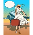 Lady passenger aircraft with Luggage vector image vector image