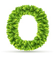Letter O alphabet of green leaves vector image vector image