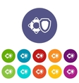 Lifebuoy and safety shield set icons vector image
