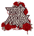 logo rock music with red roses and blood vector image vector image