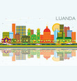 luanda angola skyline with color buildings blue vector image vector image
