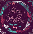 Merry Christmas Card Christmas Wreath Christmas vector image vector image